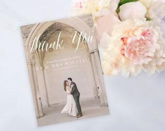 Custom Photo Wedding Thank You Card, Calligraphy Thank You Card, Printable Wedding Thank You Card Photo