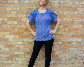 SALE The Features Box Shirt - Blue Geometric Print with Tabbed Sleeves, Round Neck, Extra Length