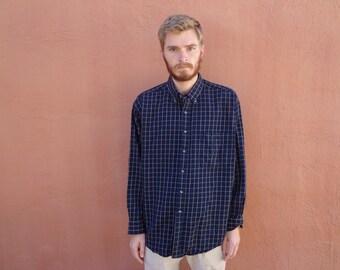 XL Vintage Filson Wool Navy Blue Plaid Check Outdoorsman Shirt