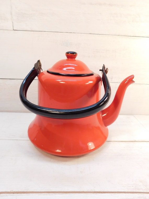Red Tea Kettle ~ Vintage red orange enamel tea kettle enamelware japan