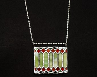 The tiniest stained glass window pendant