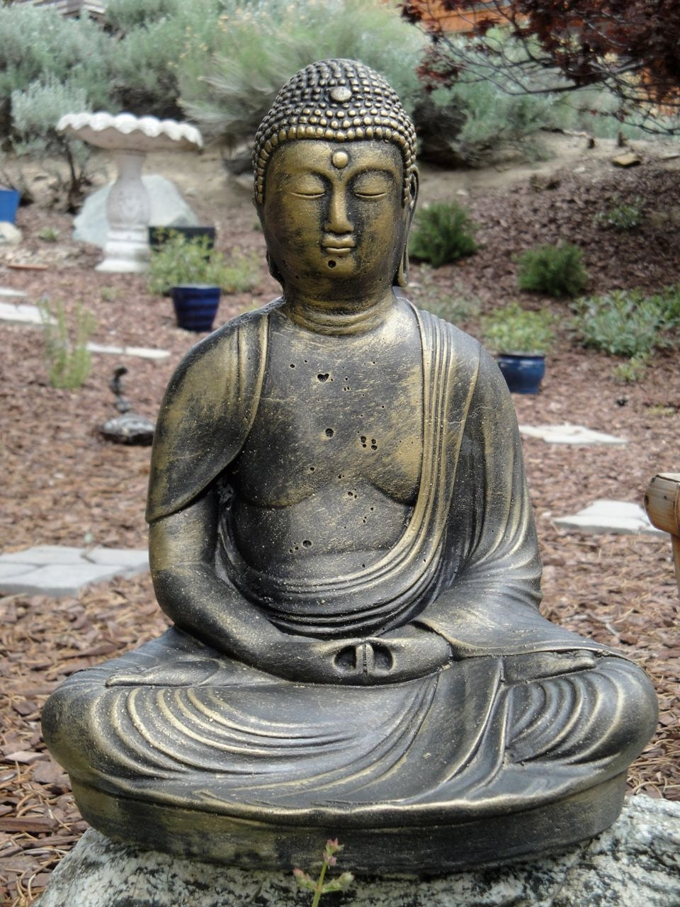 Cement Buddha Garden Statue Solid Concrete Buddha Figure