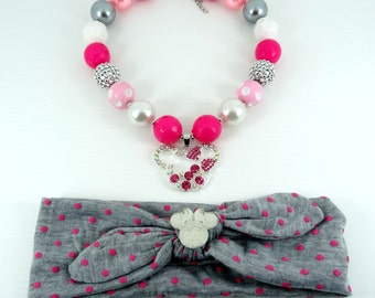 Bubblegum Necklace & Headband Set, Girl's Chunky Necklace Set, Girls Jewerly, Photo Prop Girl Necklace