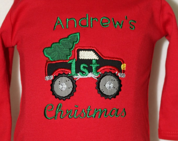 Baby boys First Christmas bodysuit,Baby boy 1st Christmas bodysuit,boys Christmas red bodysuit, boy Christmas red shirt,Pick up truck shirt