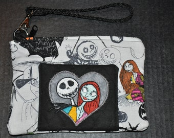 New!   Nightmare Before Christmas Embroidered Jack & Sally Wristlet - Coin Purse - Cell Phone Case w/Strap