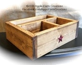 Catch-all Wooden Valet Tray Light Brown w/ Red Barn Stars & 3 Compartments-Organization Rustic Country Primitive Vintage Farmhouse Antique