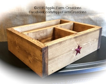 catchall wooden valet tray with metal barn stars and three rustic - Valet Tray