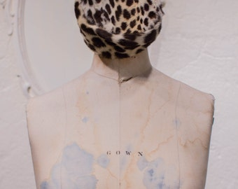 Vintage Dorothy Henrie Leopard Pill Box Hat Cheetah Print Women's Hat 1950s