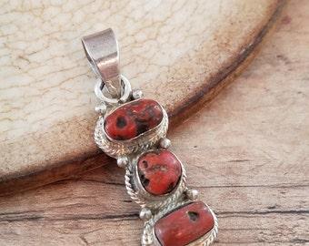 Coral pendant Sterling silver pendant coral jewelry sterling coal pendant sterling silver jewelry vintage pendant NZ1808