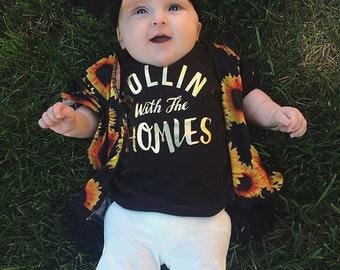 Homies Shirt Newborn Shirt Toddler Tee Gold Baby Boy Clothes Baby Boy Shirt Hipster Baby Clothes Baby Gift Black And Gold