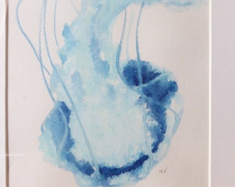 Framed watercolour painting blue jellyfish no1