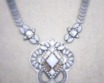 Silver statement necklace, silver necklace, statement necklace, white statement necklace, white necklace, necklace, jewelry