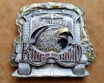 "Fantastic Vintage Bergamot Pewter Belt Buckle. ""Lone Trucker, King Of The Road Vintage Belt Buckle. Dragon Designs Tanside Ltd Belt Buckle"
