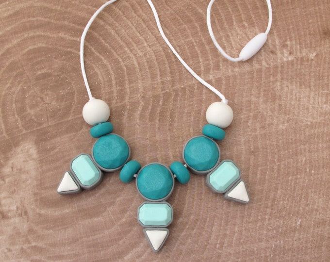 DYNASTY NECKLACE// Metal free statement necklace// Little Tusk teal, mint and white necklace// Colorful geometric gemstone bib// #SN3038A