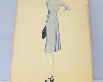 1940's Original Fashion Sketch/Illustration