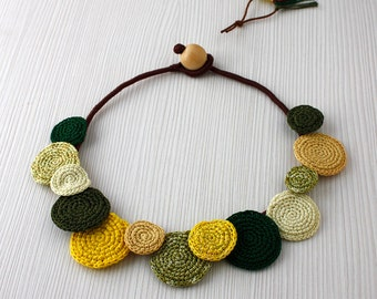 Statement Necklace, Crochet Necklace, Summer Fashion, Cotton Crochet Jewelry, Fresh Lime Green Necklace, Green Yellow Necklace, Bib Necklace