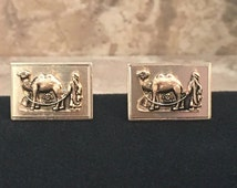 Vintage Mid Century Designer ANSON Cuff Links-  Egyptian Style- So Chic Gold Cufflinks- Free Shipping