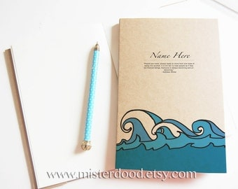 CUSTOM TEXT Notebook, Blue Ocean Waves Kraft Diary, Cute Sea Water Doodle, Minimalist Meaningful Quote, Kathleen Winter, Journal Gift Bf Gf
