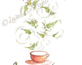 Watercolor Tea Painting, Whimsical Tea Leaves, Blooming Green Tea Print, Wall Decor, Kitchen Wall Art, Colorful Tea Leaves, Tea Lover Art