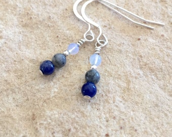 Blue and gray drop earrings, sodalite earrings, agate earrings, gemstone earrings, opal earrings, sudance style earrings, silver earrings
