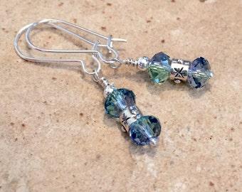 Sterling silver drop earrings, Swarovski earrings, crystal earrings, silver dangle earrings, blue earrings, blue dangle earrings