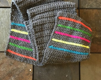 Rainbow Stripe Scarf, Handmade Crochet Wool Winter Scarf