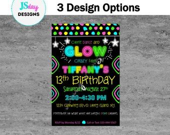 Glow party invite; glow in the dark birthday; dance invitation; girl party; tween birthday; teen birthday; black light; neon; glow stick