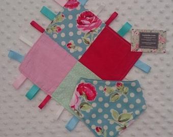 Handmade Patchwork Polkadot rose tag blanket and dribble bib set