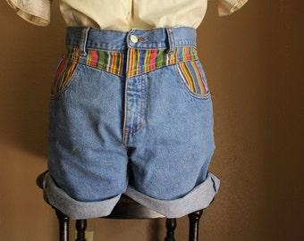 1990's Vintage Tribal // Mexican Print High-Waisted Jean // Denim Shorts