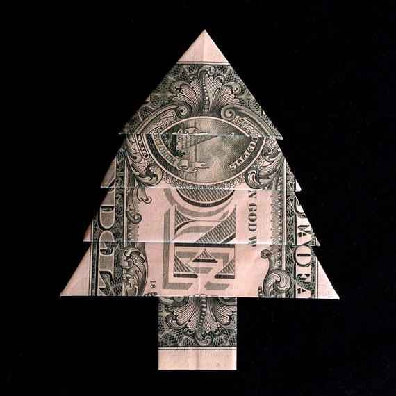 Dollar Bill Origami Christmas Tree: Money Origami CHRISTMAS TREE Gift Real One Dollar By