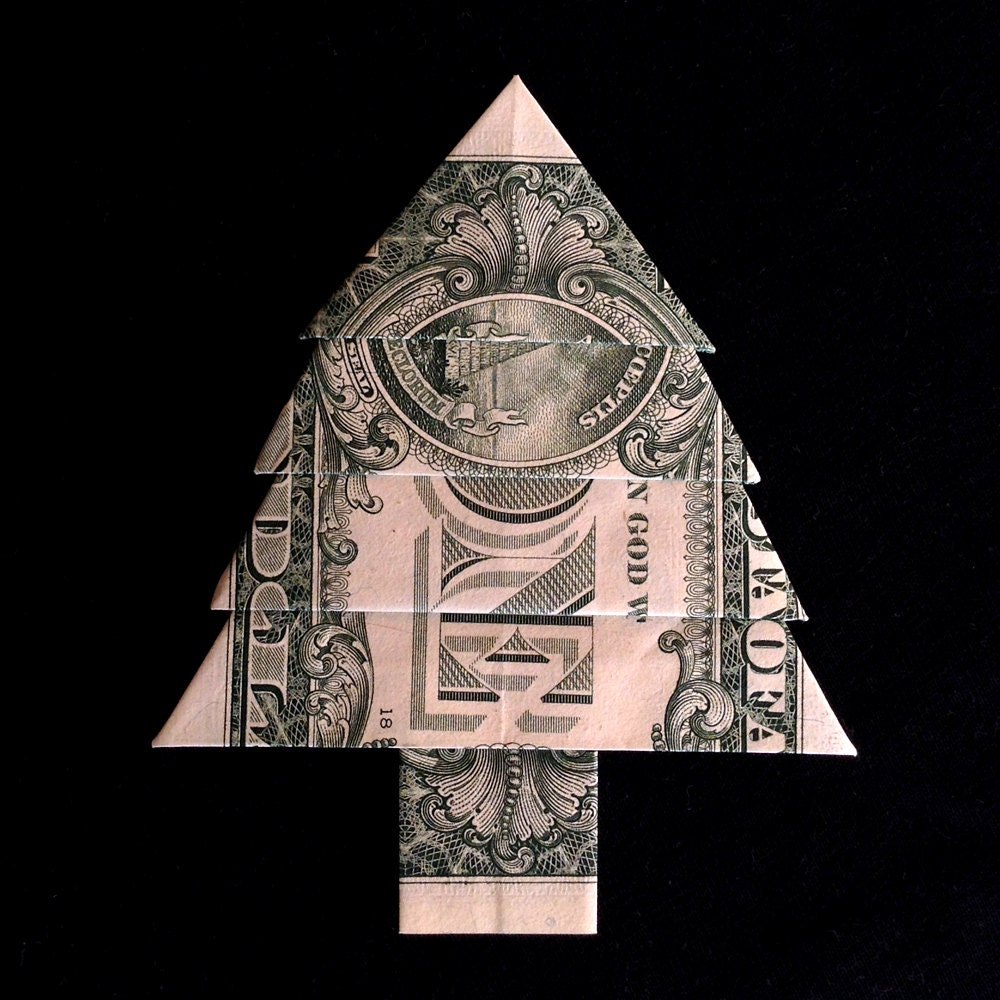 Money Origami CHRISTMAS TREE Gift Real One Dollar by ... - photo#17