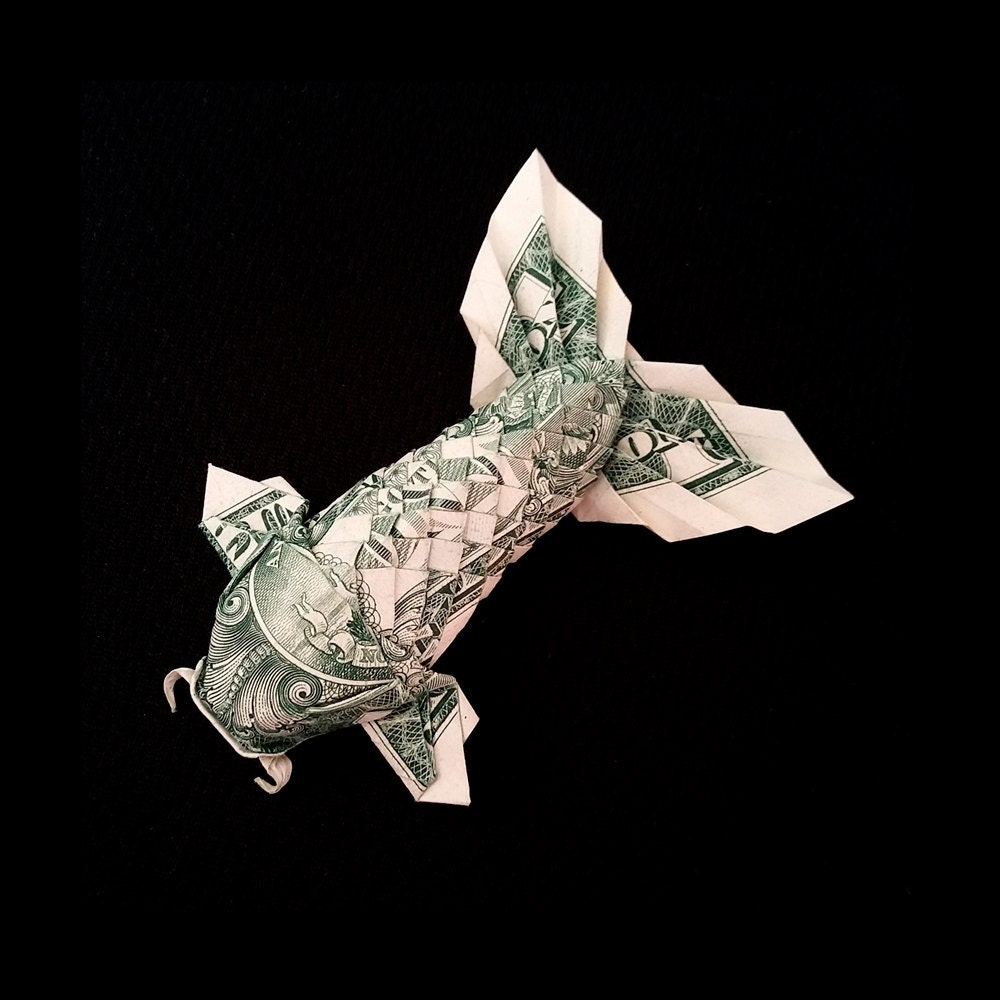 Koi fish with fluffy tail 3d figurine money by trinket2shop for Origami koi fish