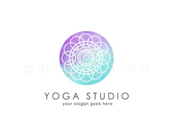 Watercolor Mandala Logo - Yoga Logo Design - Logo Design - Wellness Logo - Health Logo - Watercolor Logo