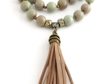 Tassel Necklace - Beaded Necklace - Fringe Necklace - Boho Necklace - Bohemian Necklace - Suede Tassel Necklace - Gift for her - Yoga Mala