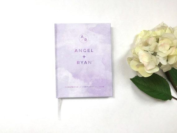 Lavender Watercolor Wedding Guest Book - Wedding Guestbook - Custom Guest Book - Wedding Keepsake