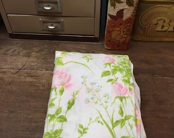 Vintage Sheet Linens Full/Double Pink Blue Green Floral