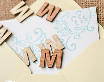 """100 Wood Letter M - 1"""" - Wooden Alphabet Letters - Birthday Party Table Decorations - Initials - Monogram Confetti - Wood Letters -"""
