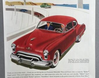"1949 Oldsmobile Fururamic ""98"" Print Ad with Rocket Engine - Hydra-Matic Drive"