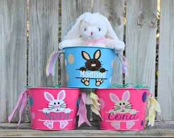 easter basket, easter bucket, egg hunt, spring basket, easter bunny tin, personalized easter gift, custom easter basket, gift for her spring