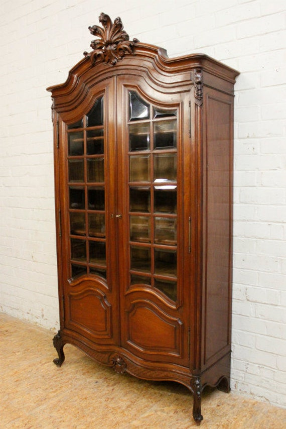Antique French Louis XV Bookcase Solid Walnut Beveled Glass Wonderful Quality 19th Century #7076