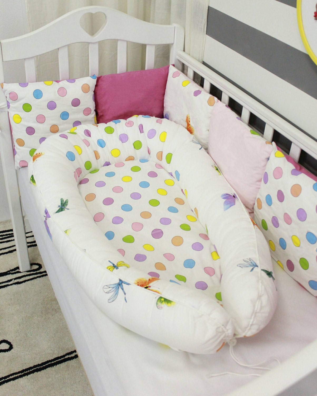 Butterfly & Dots Baby Nest Babynest Baby Bed Baby Pillow