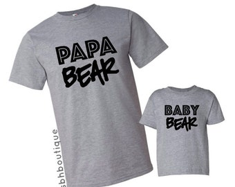 Dad and Son Shirts, Dad and Baby Matching Shirts, Father's Day Gift, Gift for Dad, Papa Bear Shirt, Baby Bear Shirt, Father and Son Shirts