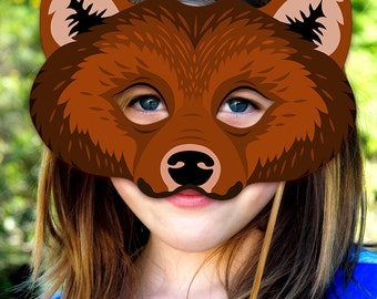 Bear Printable Mask Grizzly Bears Brown DIY Animal Masks Booth Prop Birthday Party Games Children Adult Photo Halloween Costume Party Favor