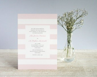 Printable classic stripe wedding invitation set, DIY digital customisable wedding invite suite
