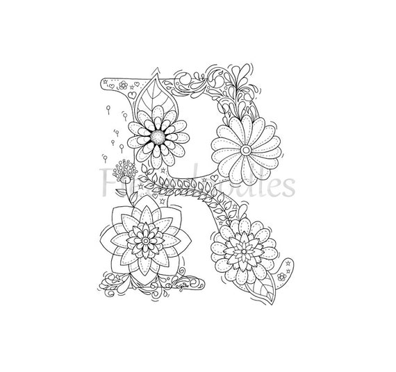 adult coloring page floral letters alphabet r hand lettering printable anti stress coloring book zen coloring instant download - Letter Coloring Pages For Adults