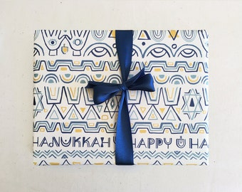 Hanukkah Folk Art Gift Wrap Sheet // Wrapping Paper, Blue, Menorah, yellow, star, happy, modern, triangle, geo, tribal, hands, Holidays