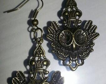 brass owl earrings