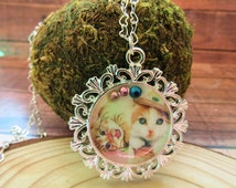 blue eyed kitty necklace, cute cat necklace, Kawaii jewelry, cat jewelry , funny cats necklace, resin necklace, cat jewelry, kawaii resin