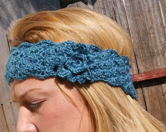 Variegated blue headband with rosette
