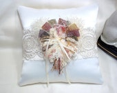 Ring Bearer Pillow, Wedding Ring Pillow, Cottage Chic Pillow, Fiber Heart Ring Nest, Bohemian Wedding, Burlap Lace Pillow, Boho Pink Peach